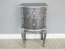 Embossed Mirrored Side Table Bedside Cabinet Table Statement Piece