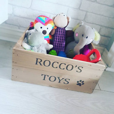 Personalised Wooden Pet Toy Box, Dog Puppy Cat Toy Crate Rustic Pet Gift