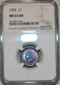 NGC MS-65 BN 1902 Indian Head Cent, Beautifully toned specimen.