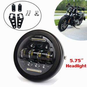 "5.75"" Round LED Projection Headlight for Kawasaki Honda Motorcycles w/Bracket"