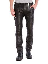 $648 NWT DIESEL P-ZIPPS Black Leather Rocker Biker Pants Mens 26 Waist 28 Length