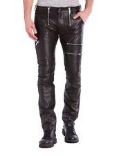 $648 NWT DIESEL P-ZIPPS Black Leather Rocker Biker Pants Mens 26 Waist 28 Length
