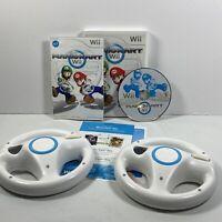 Mario Kart Nintendo Wii Game Complete With 2 OEM Wii Steering Wheels Tested