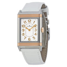 Jaeger LeCoultre Grande Reverso Lady Ultra Thin Silver Dial White Leather Watch