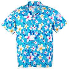 Hawaiian Shirt Aloha Cotton Vivid Plumeria Frangipani Beach Blue XXL hg907c