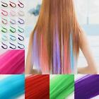 Straight Clip Piece Long Hair Extensions Women Multi Color Synthetic