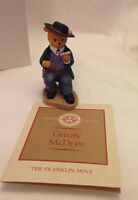 FRANKLIN MINT GRIZZLY MCDRAW FIGURINE TEDDY TOWN PLAYERS LAWSON SCULPTURE EC