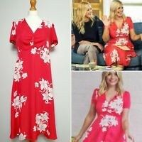 M&S + Alexa Chung Holly Willoughby Red Floral Midi Tea Dress (UK Size 10) *Rare*