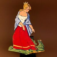 🚬 1960er Goldkronen-Prinzessin 20cm DDR Spielzeug VEB Wand Figur Holz Bild Kind