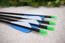 Pack of 6 Carbon Arrows Blue and White Fletching Great for Practice