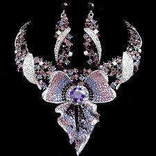 Purple Sparkling Crystal Rhinestone Bridal Party Wedding Necklace Earring Set