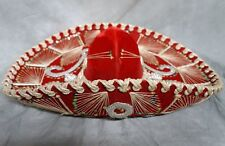 MEXICAN SOMBRERO ELABORATE RED VELVET WITH SEQUINS PARIS ROMA MADE VINTAGE HAT!