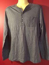BANANA REPUBLIC Men's Grey Striped Henley Shirt - Size Medium - NWT