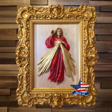 The Sacred Heart of Jesus Wood Carved icon catholic painting picture frame art