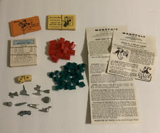 Vintage Monopoly Board Game Pieces Lot Cards Dice Plastic Houses Hotels Rules