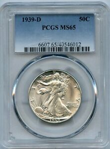 1939-D Walking Liberty 50c Silver Half Dollar PCGS MS 65