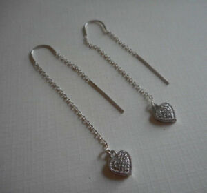 Sterling Silver Tiny Heart Threader Earrings   178A