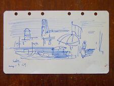 Max PAPART (1911-1994) Esquisse dessin au bic 1954 représentant un port Cubisme