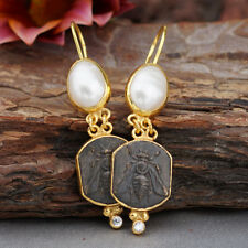 925 k Sterling Silver Bee Coin & Pearl Earrings Roman Art Turkish Fine Jewelry