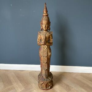 Large Vintage Wooden Buddha Carved Wood Asian Statue