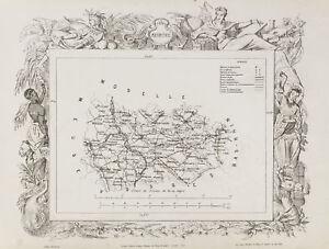 1870ca - antique map Meurthe & Meuse. County