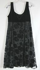 Little Black Dress Flower FLORAL VELVET BURNOUT Sleeveless Sz 10 Kailey Lynn