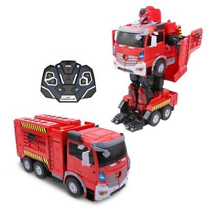 Kids RC Toy Fire Truck Transforming Robot Remote Control Vehicle For Boys