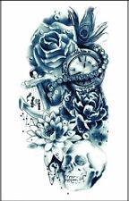 Skull Clock Pearls Temporary Tattoo Black Henna Tattoos Adult Tribal  Kit