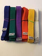 Tiger Claw Belt Set -6 Sz 0 Belts- White, Yellow, Orange, Purple, Green, & Blue
