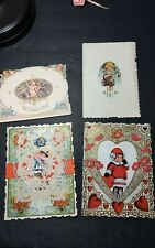 4 Vintage Valentines Mixed Lot Early 1900`S 2 Whitney Made, easel style, embosse