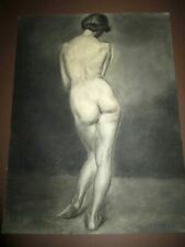 "🔴 Original Antique Charcoal Signed Durfee Drawing Female Nude Woman 24.5"" X 19"""