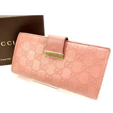 Gucci Wallet Purse Long Wallet Guccissima Pink Woman Authentic Used Y504