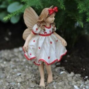 Miniature Dollhouse Fairy Garden Janie Red Dot Dress Ready For Forth of July