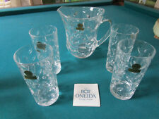 Oneida Royal Crystal Rock Dorico Lead Crystal Pitcher AND TUMBLERS ITALY SET NIB