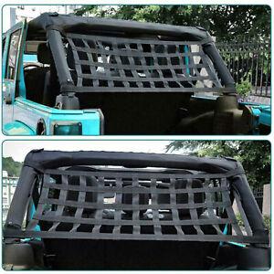 For Jeep Wrangler YJ TJ JK JL Cargo Net Window Extra Storage Roof Hammock Black