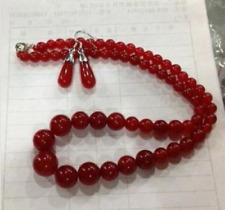 Gemstone Necklace 17''+Earring Aaa Excellent 6-14mm Red Ruby