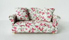 FLORAL PRINT LIVING ROOM SOFA AND ARMCHAIR FURNITURE SET 12th SCALE DOLLS HOUSE