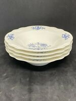 Set of 4 Berry Fruit Dessert Imperial Blue Dresden by Sheffield Homer Laughlin