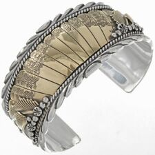 NAVAJO Handmade Sterling Silver Gold Feathers Cuff Dove Pattern HEAVY Bracelet