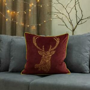 Furn Forest Fauna Woodland Square Cushion Cover Burgundy and Gold 50 x 50 cm