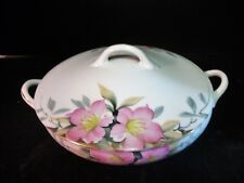 Vtg Noritake Azalea Round Covered Vegetable Bowl Made in Japan Red Backstamp