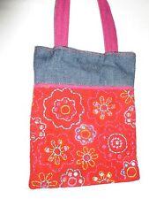 small denim & felt sequine embroidered handbag retro hippy novelty red and blue