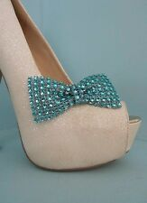 2 Turquoise Diamante Style Bow Clips for Shoes