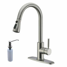 Brushed Nickel High Arc Pull Down Kitchen Faucet Cover W/Soap Dispenser Mix Tap