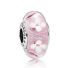Pandora Silver Pink FIELD OF FLOWERS Glass Charm Bead (genuine ale 925)