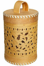 Large Carved Birch Bark Wood Kitchen Canister Storage Container Jar Natural Gift