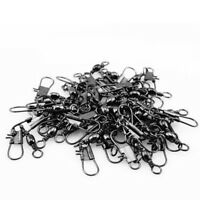 50pcs Stainless steel swivels interlock snap fishing lure Connector accessories
