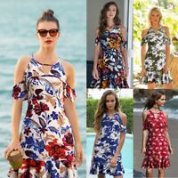 Women Floral Summer Beach Slim Fit Mini Dress Flower Off Cold Shoulder Sheath