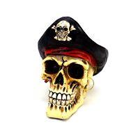 "Pirate Skull Statue Small Captain Hook Skeleton Halloween Figurine 4"" tall"