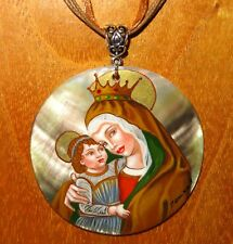 Pendant Madonna and Child Carlo Crivelli Genuine Hand painted SHELL signed GIFT